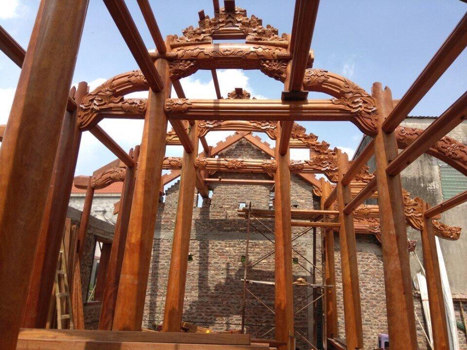 Công trình Nhà gỗ 3 gian gỗ gõ đỏ